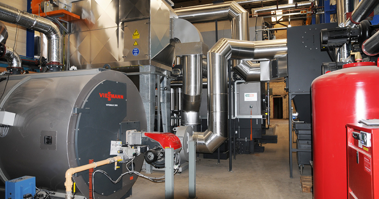 Part of the Viessmann biomass boiler plant installed by Mawera UK at Starbank Panels