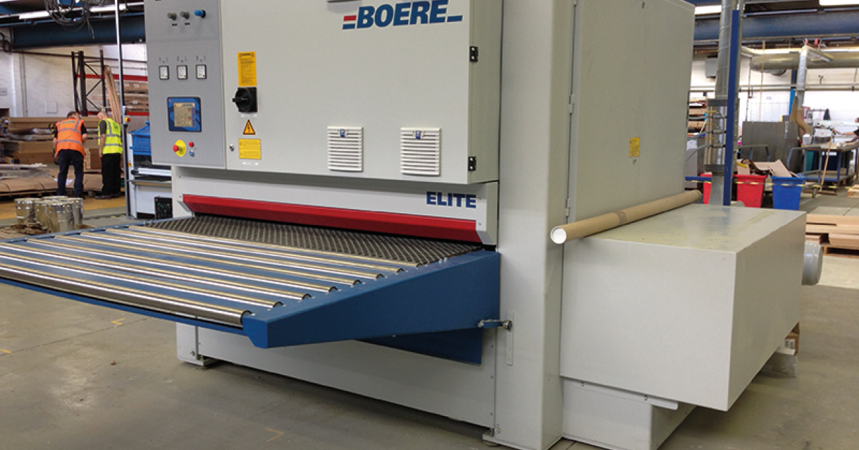 Recently-installed Boere super-wide belt sander Elite KCK2100 for calibrating, veneer sanding, lacquer sanding 2100mm capacity