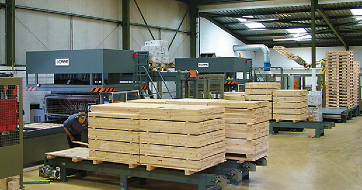 A section of the new pallet line which produces both two-way and four-way pallets