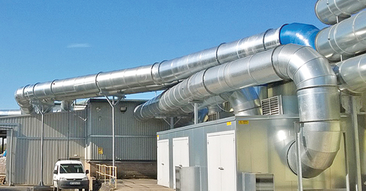 Three main duct runs, each 1000mm in diameter, are running externally for more than 40m before entering the factory and dispersing to service state of the art processing machinery