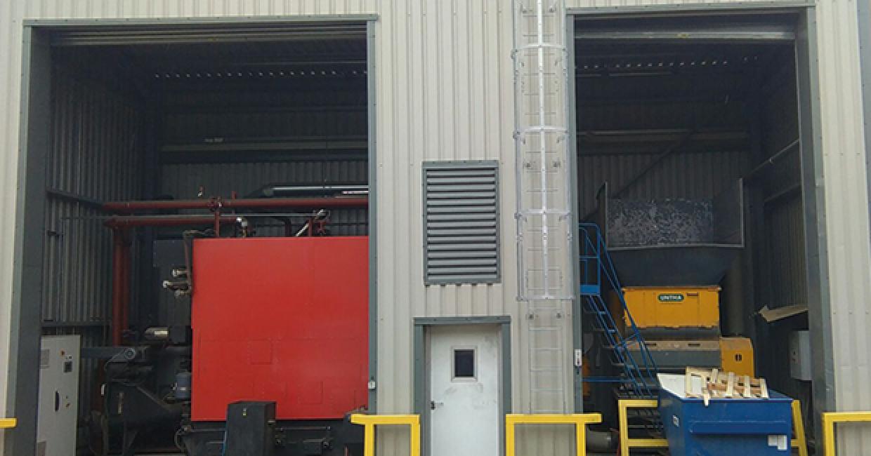Boiler room housing Talbotts MWE RHI boiler and Untha 1400 shredder