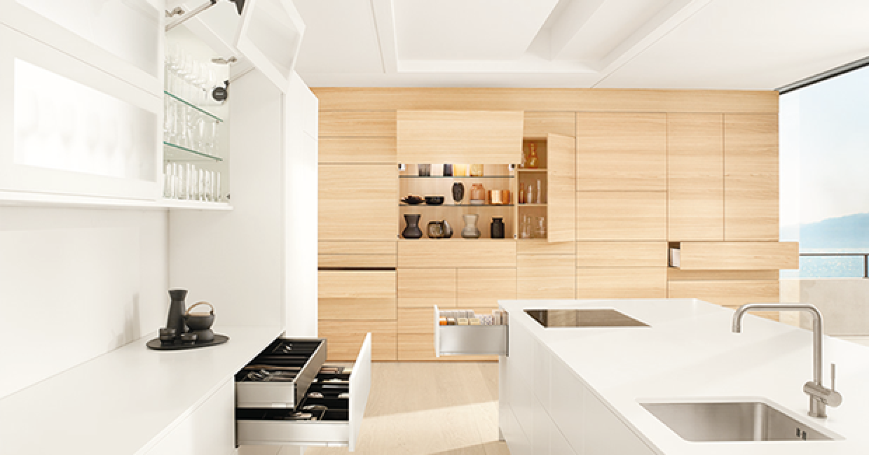 With innovative fittings solutions in all three product groups – lifts, hinges, pull-outs – Blum reflects current design trends