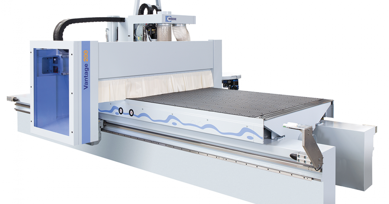 The Weeke Vantage 200 gantry CNC nesting machine offers a 14-fold tool changing system as standard