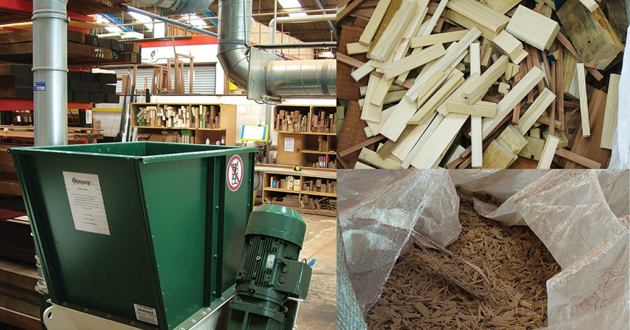 High-throughput Schuko shredder – recycled timber off-cuts and bought-in wood chips are transferred to the silo for winter top-up