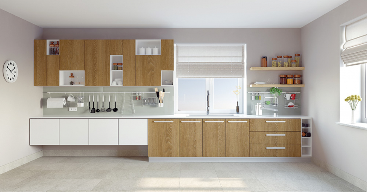 Kitchen using Roble Vainilla Jazz