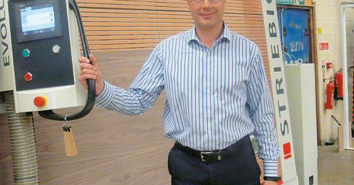 Managing director Richard Latham with the Striebig vertical panel saw