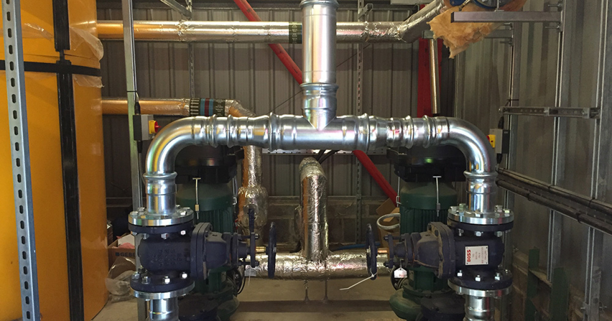 Insulated pipework and buffer storage for a 1mW system in N Wales