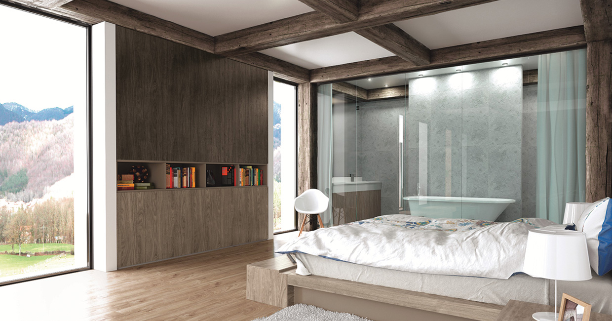 The Swiss Krono One World Collection offers a range of woodgrain finishes that meet customer needs and market trends – pictured on the tall storage units are St Moritz Walnut and Barcelona Walnut in the One Wood texture