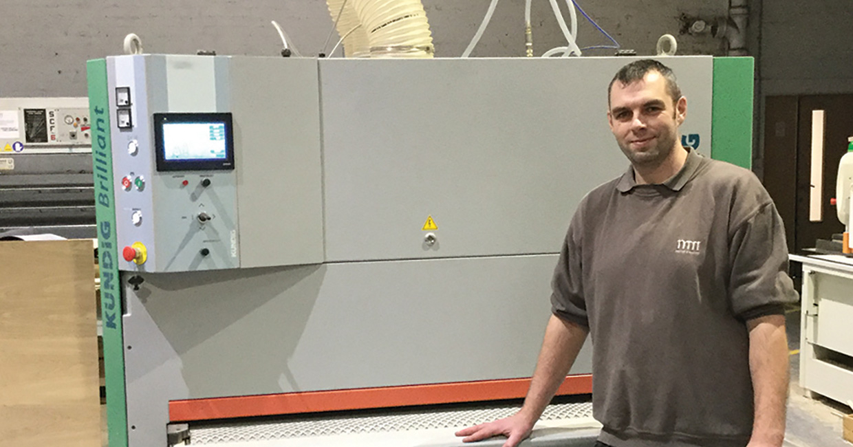 Murray & Murray workshop manager, Adam Cleghorn, beside the company's new Kündig Brilliant-2 1350 REd-L sander