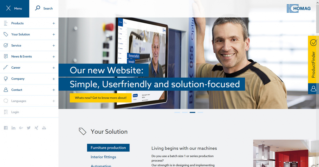 Homag's new website is simple, user-friendly and solution-focused