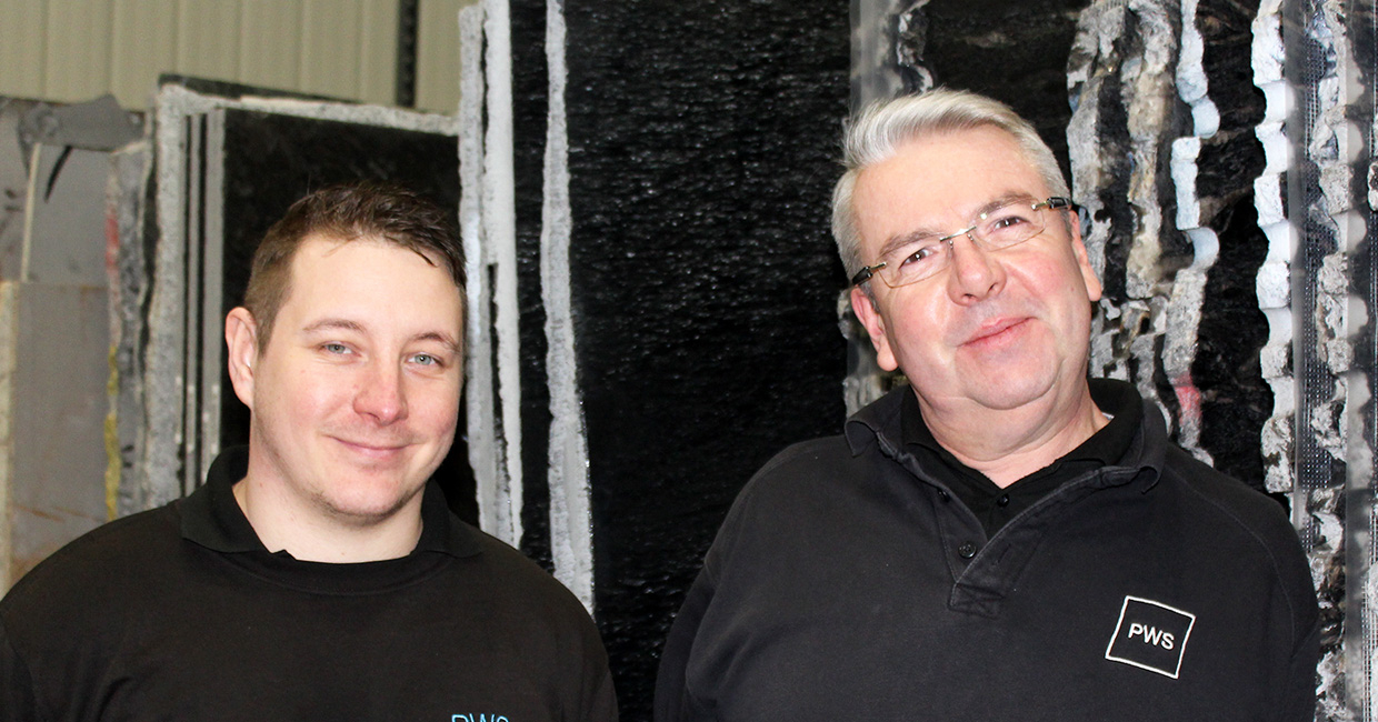 Left to right: Michael Catmull, worksurfaces' manufacturing manager, and Jeremy Redshaw, head of manufacturing