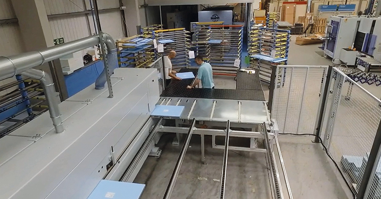 The 60m line edges all four sides, automatically delivering up to 10 bespoke doors a minute