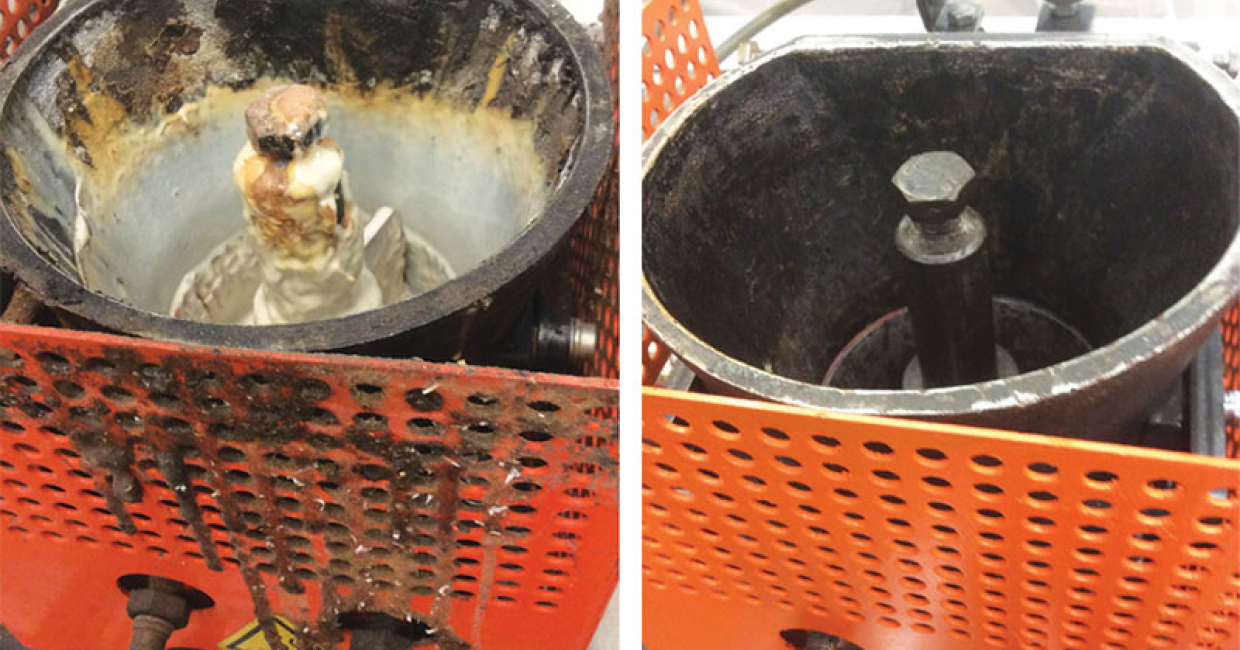 Glue-pots before and after