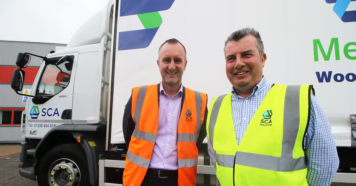 Pictured left to right is Steven McRitchie, general manager with Brendan Murphy, operations manager, from SCA Merchant Services Scotland