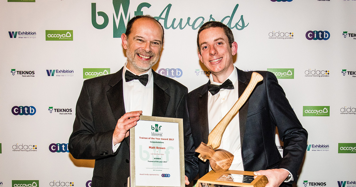 Matt Brown, right, the BWF 2017 trainee of the year