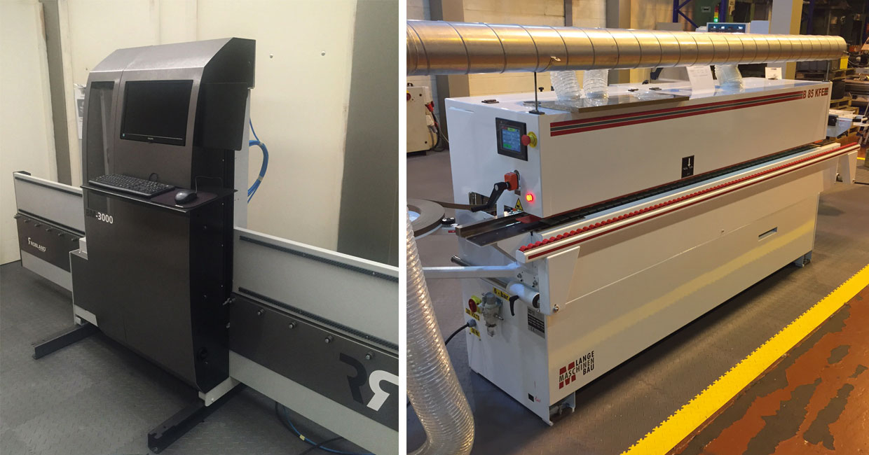 A Robland BM3000 CNC boring machine, and right, a Lange B85KFE edgebander