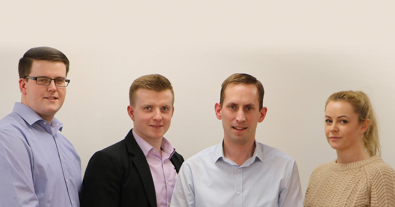 L to R: Jotham Wells, account manager; Josh Wells, sales executive; Daniel Wells, sales director; Ella Hysom, sales executive