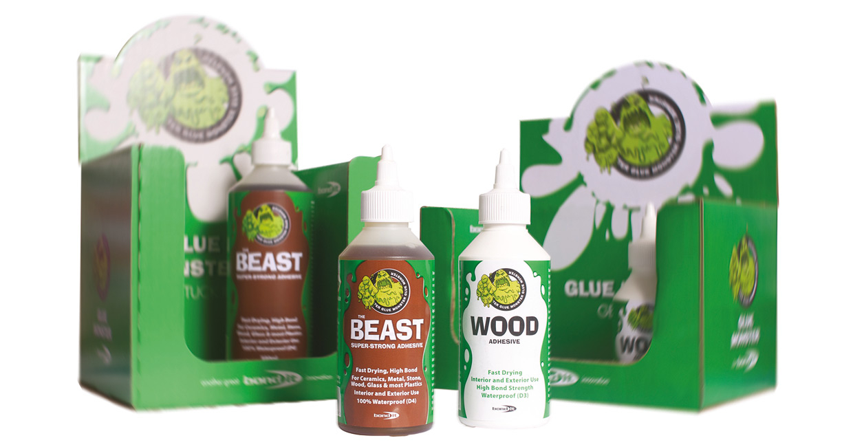 Bond It's recently-launched Glue Monster ranges features a new PVA wood adhesive and a new, highly versatile, super strength, general purpose adhesive