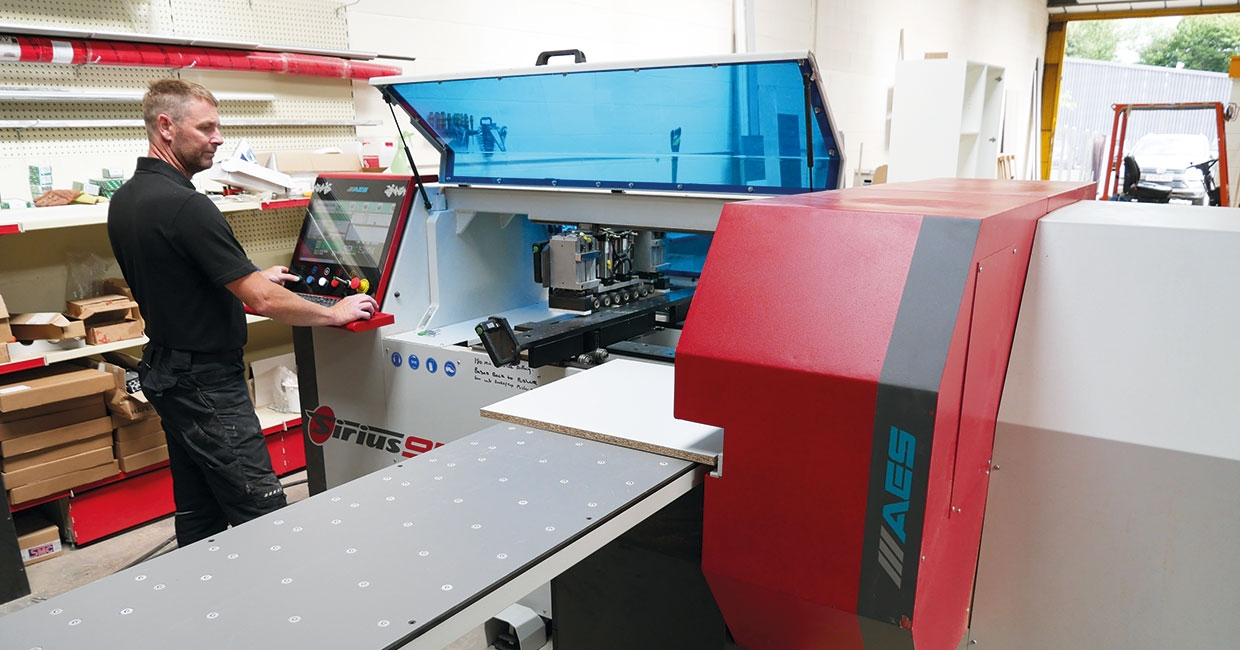 Galaxy Interiors MD Ian Makinson with his AES Sirius 950M CNC drilling and milling machine