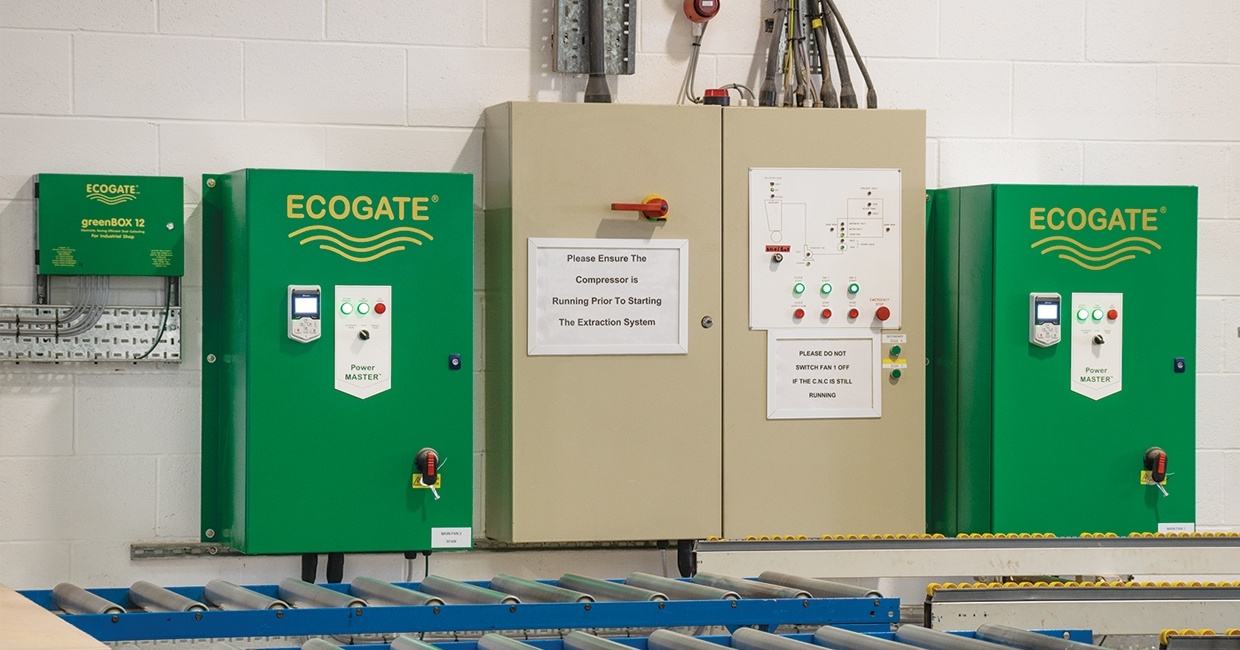 One of the Ecogate greenBOX controllers, sited alongside two of the PowerMASTER variable speed drive units which control fan speed