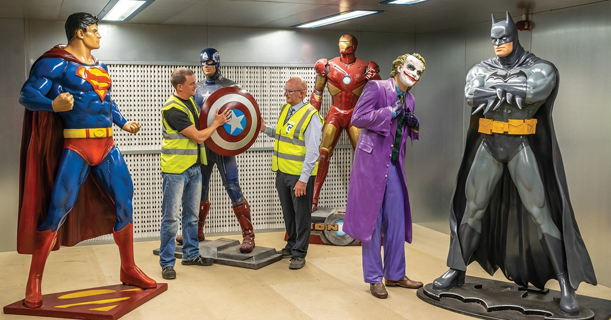 Gallito's Mark Carson (right) got quite a welcome on his visit to inspect a recent installation – Matthew East (left) co-director at Event Prop Hire, is pictured second from left!