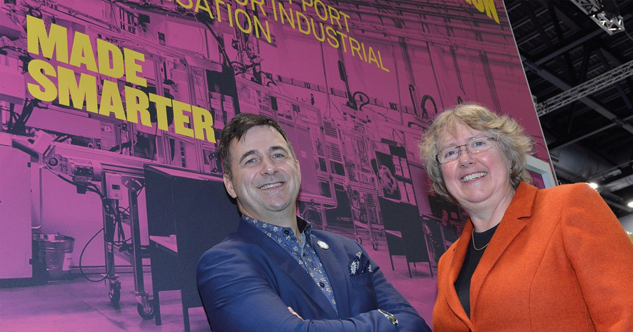 Siemens' CEO Juergen Maier, and Donna Edwards from Made Smarter North West, at the launch in Liverpool