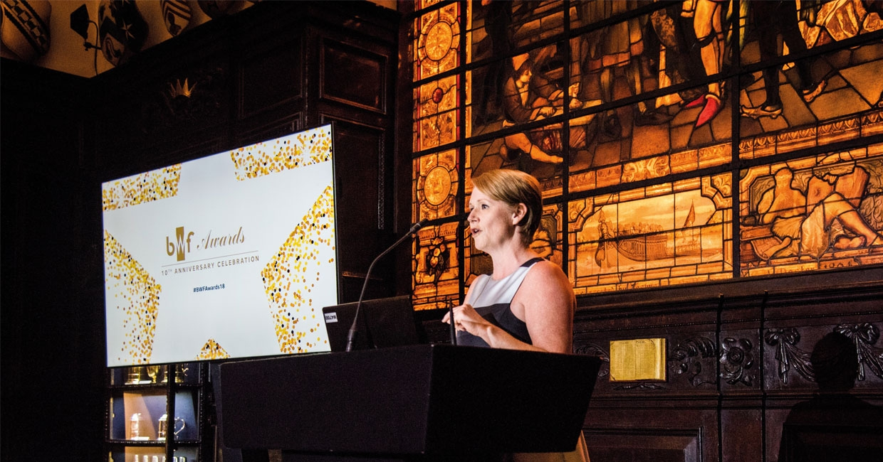 Helen Hewitt, chief executive of the BWF at the awards ceremony