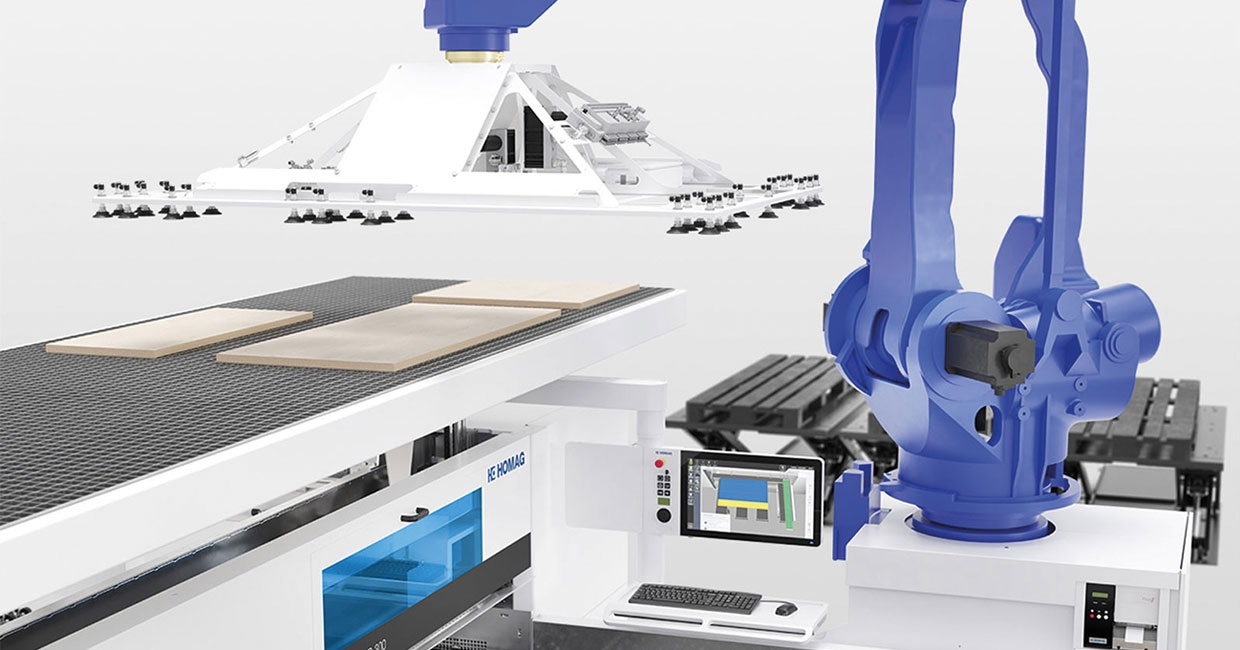 The SAWTEQ B-300 and B-400 models offer complete robotic handling including the loading and unloading of workpieces
