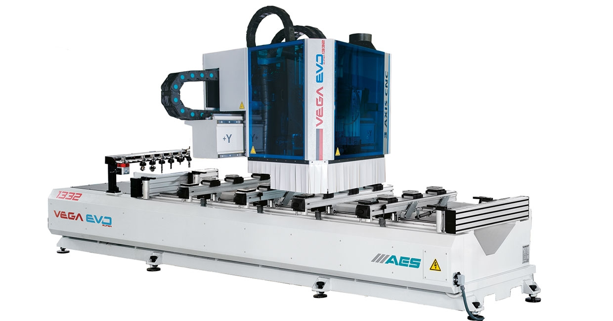 The AES Vega series is available as either a three-axis or five-axis machine