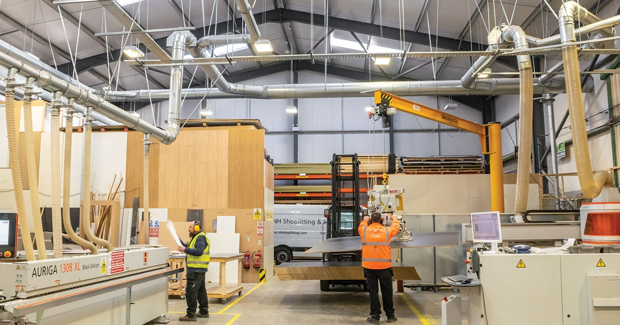 A section of the joinery production area at NH Shopfitting & Interiors