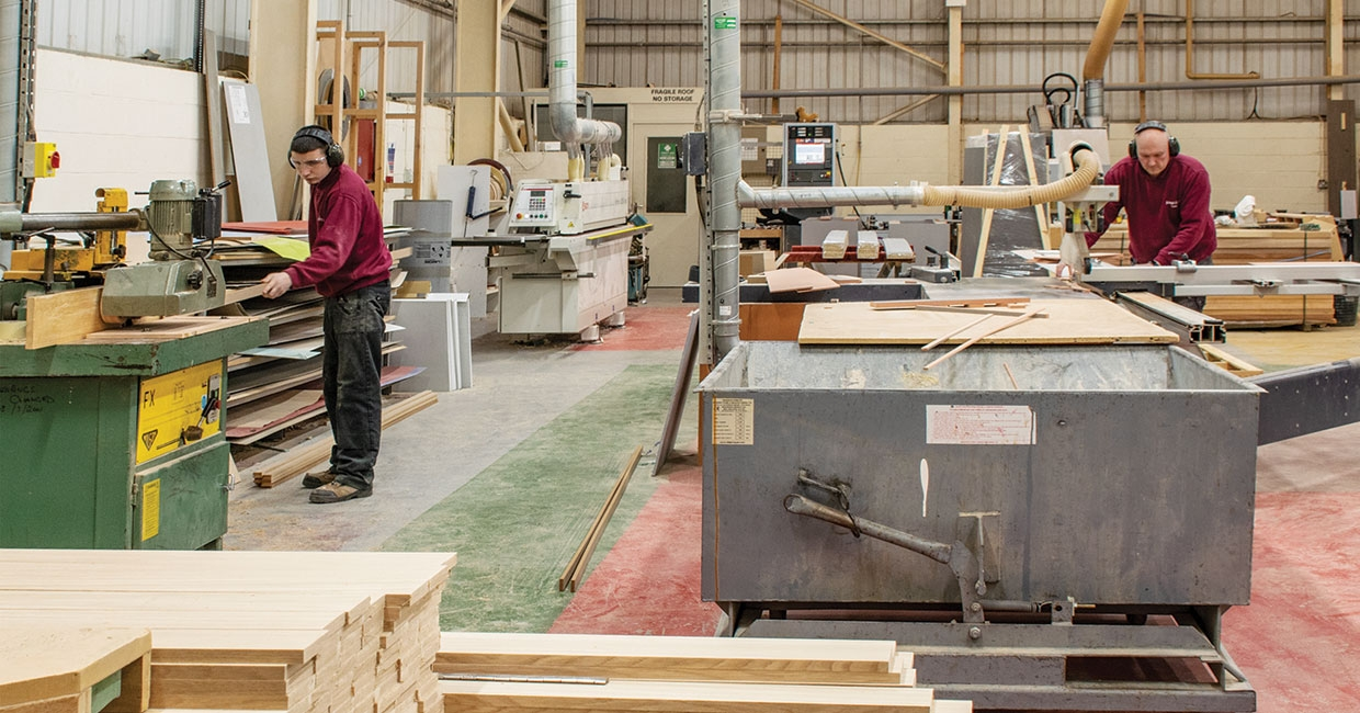 A section of the joinery production area at Rosebirch