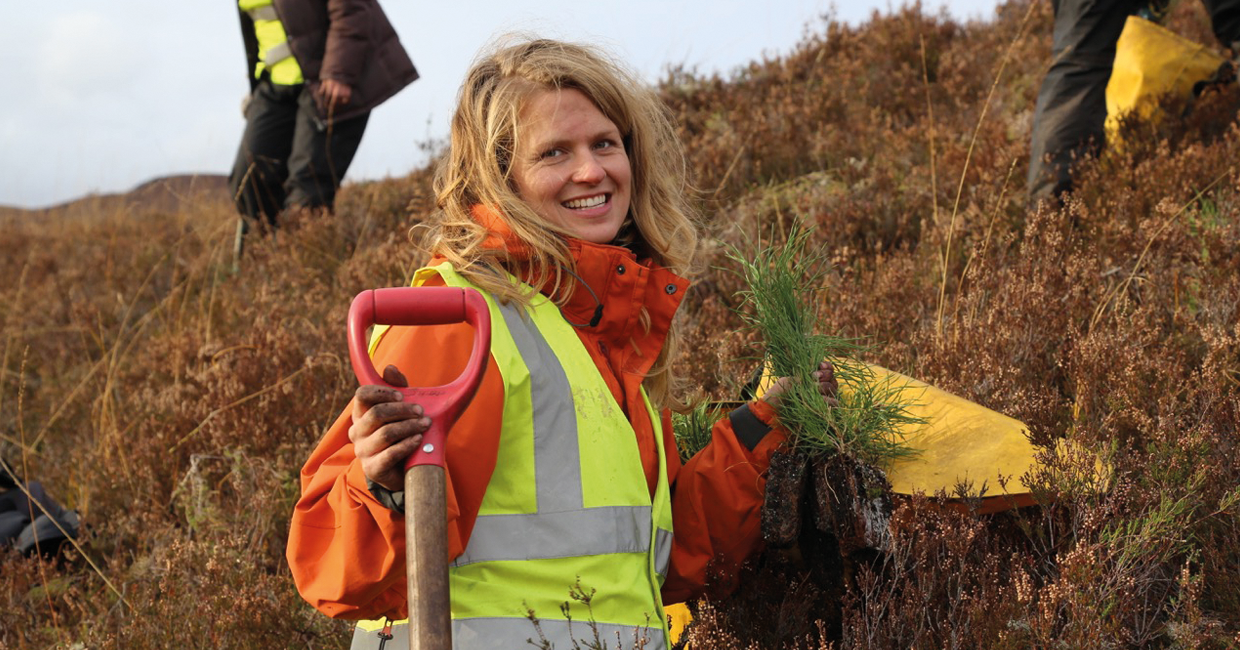 Volunteer (Katy) with Scots pine seedlings she's about to plant