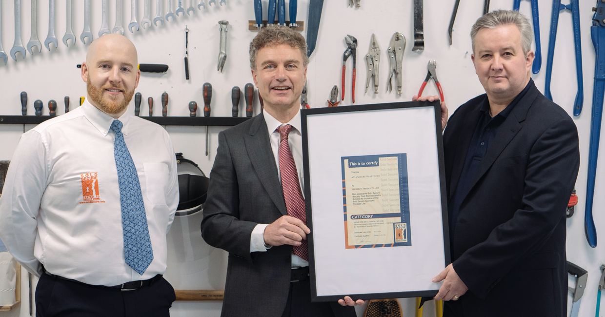 Mighton Marketing Director, Jim Herrtington (centre) with Sold Secure Managing Director, Steffan George (right) and Lab Manager, Guy McCaffery (left)