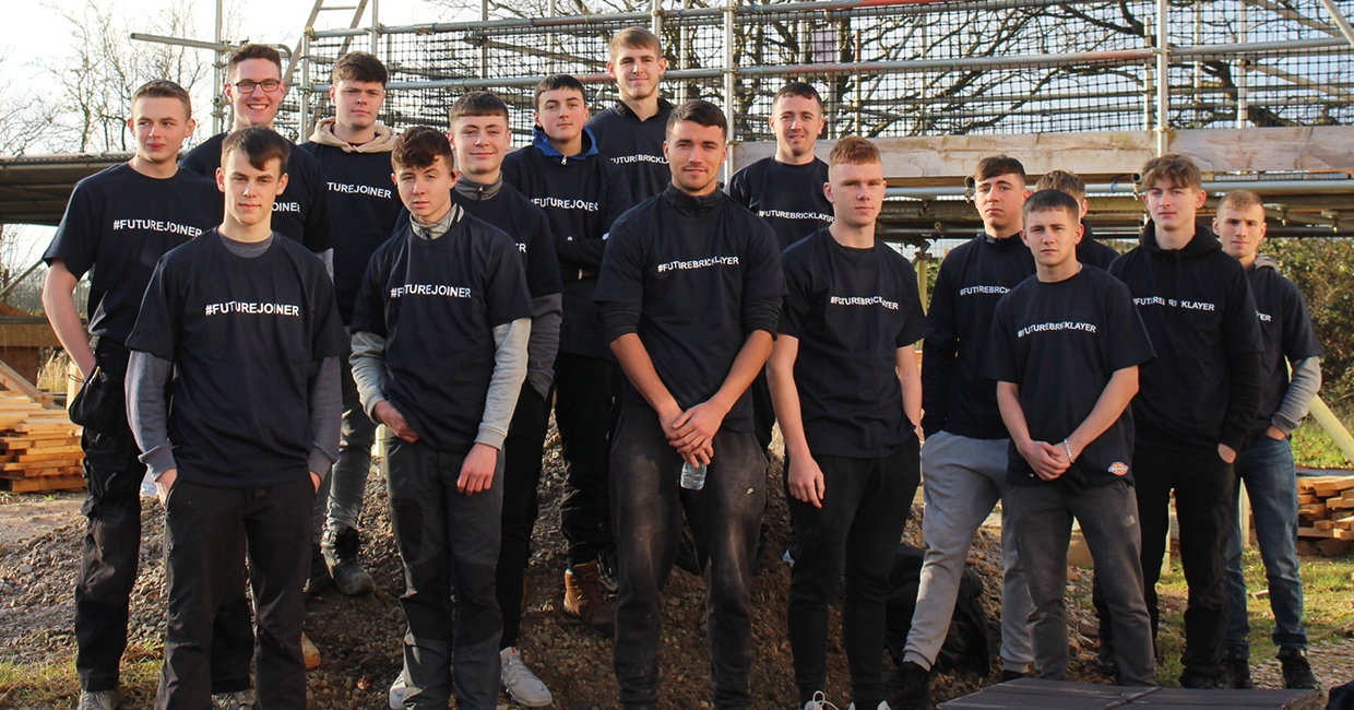 Students at Preston's College wear their Dickies' t-shirts featuring motivational hashtags