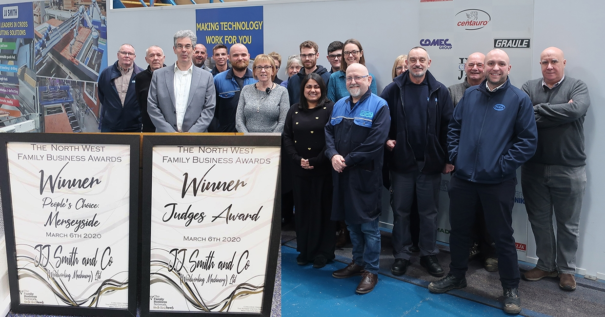 JJ Smith wins People's Choice: Merseyside and Judge's Choice at the North West Family Business Awards