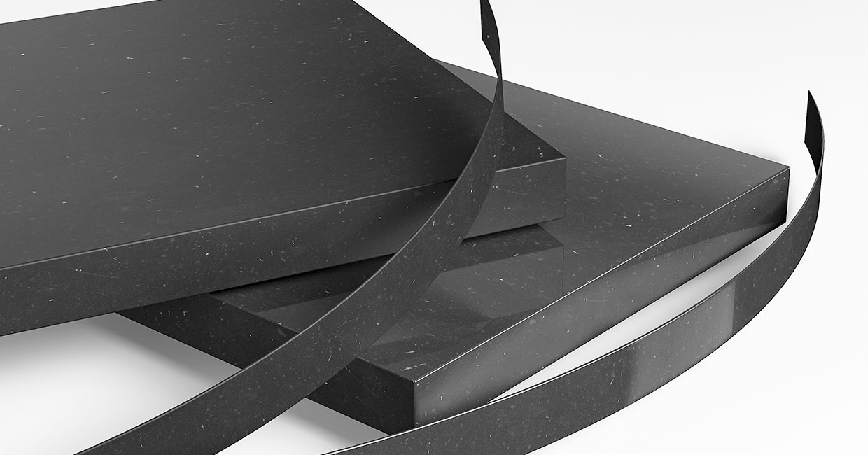 The edges of the high-grade PrimeBoard MDF surfaces obtain their perfect finish with one of the two new ABS edgings MDF black natural smooth with matt varnish and MDF black natural Excellent Gloss