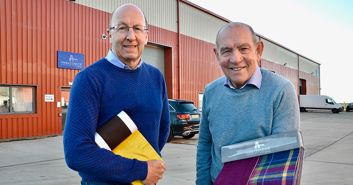 Mike Donohue, left, and Barry King outside Ambassador Textiles' new Oldham base