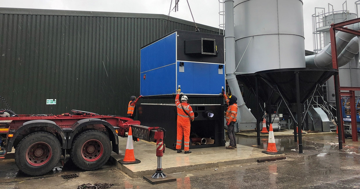 One of two 1750kW boilers installed on a 36-acre site during Covid-19