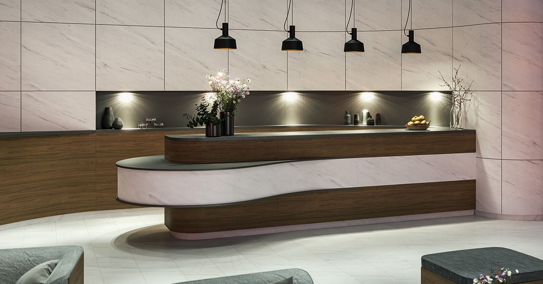 Egger Pro Laminate Flooring EPL005 Light Levanto Marble and Egger Decorative Collection 2020-22 F812 ST9 White Levanto Marble