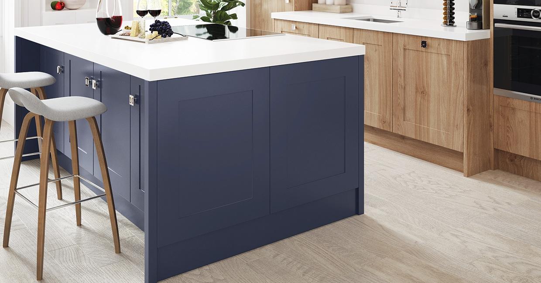 Renolit 3D Thermolaminate Oria Blue Premier Matt with Natural Kendal Oak Classic