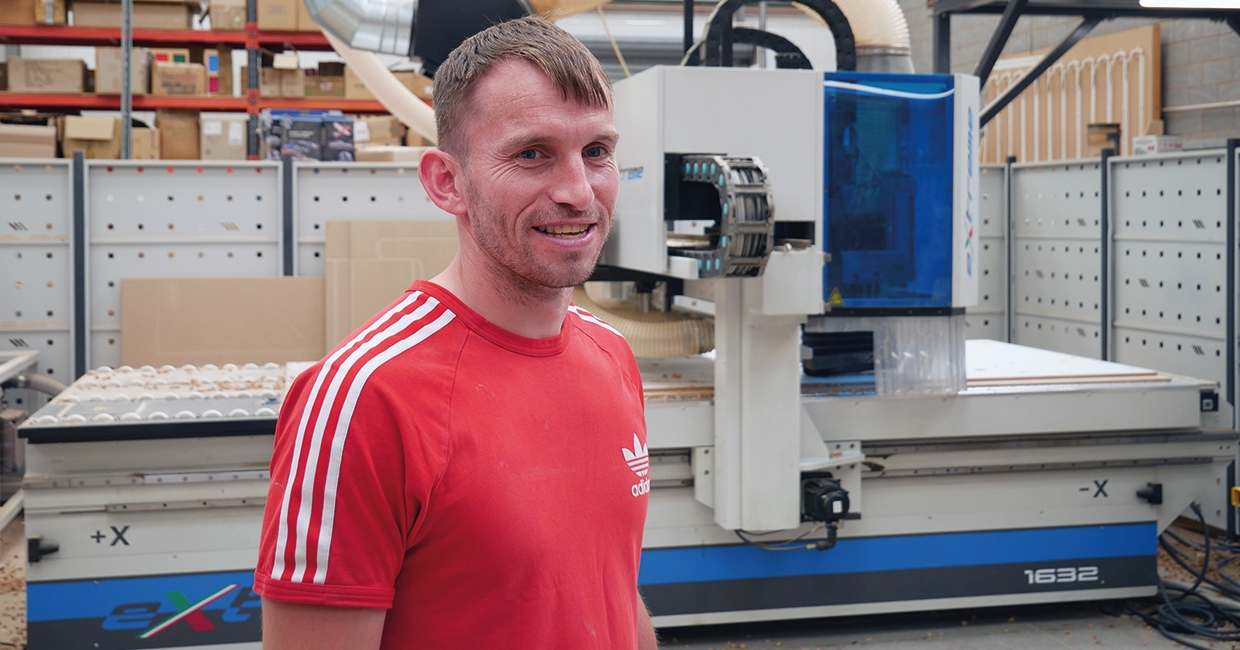 AES CNC nesting machine installation with Owen Roberts of Bryn Roberts Joinery