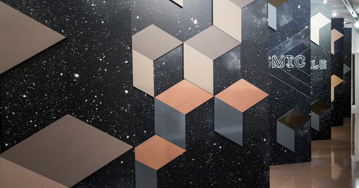 Cosmic Sparkle was a new décor family from Interprint with cool-to-warm metallic effects