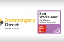 Ironmongery Direct named as one of the UK's Best Workplaces™ for women